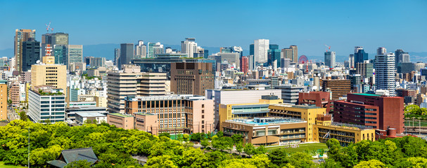 Skyline of Osaka city in Japan