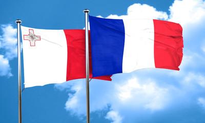 Malta flag with France flag, 3D rendering