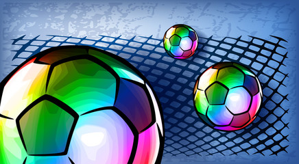 Composition with footballs and mesh