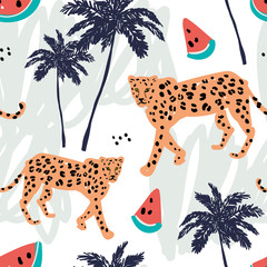 Orange leopard, watermelon and palm trees on a white background with pastel strokes. Vector seamless pattern with african animal and fruit. Tropical illustration. Hand drawn.