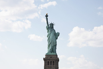 Front view of Statue of Liberty on her pedestal