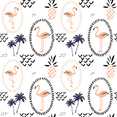 Blush pink flamingo in the frame, pineapples and palm trees on the white background. Vector seamless pattern with tropical bird and fruit. Hand drawn illustration.