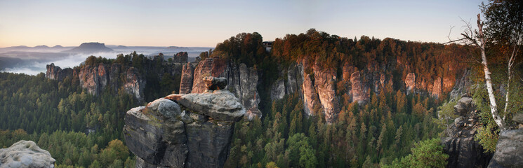 Morning shot of the Bastei, Elbe Sandstone Mountains, Saxon Switzerland, Germany