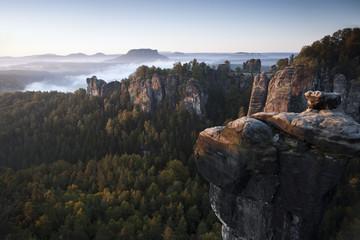 Morning at the Bastei, Elbe Sandstone Mountains, Saxon Switzerland National Park, Germany