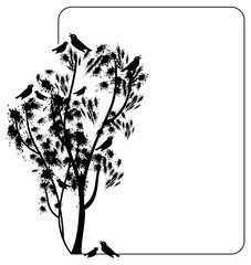Silhouettes of the trees and the singing of birds drawn by hand. Vector clip art.
