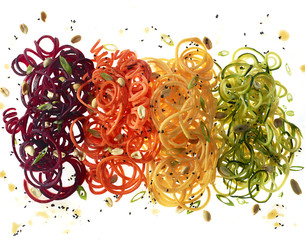 Thinly sliced colourful vegetables
