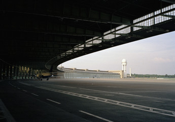 Detail of the terminal building, Tempelhof Airport, Berlin, Germany