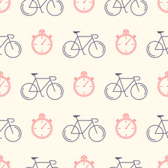 Decorative seamless pattern with racing bikes