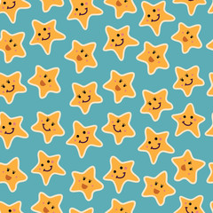 pattern of fun cartoon stars with smiling faces