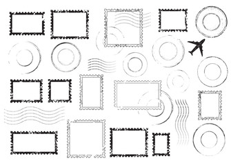 Set of postal stamps and postmarks, black isolated on white background, vector illustration.