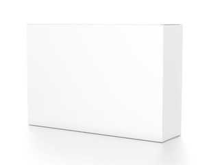 White wide horizontal rectangle blank box from side angle.