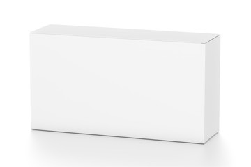 White wide horizontal rectangle blank box from top side angle.