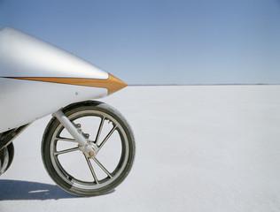 Detail of a racing motorcycle on a salt flat, Lake Gairdner, South Australia, Australia