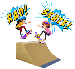 Two kids on skateboards