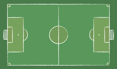 Football field or Soccer field. Chalk lines on a board. Football design in doodles style