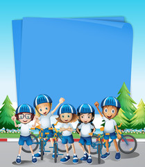 Paper design with kids riding bike