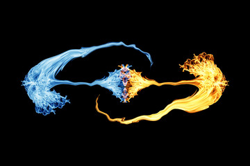 fire and ice , Fire flame and smoke on black background
