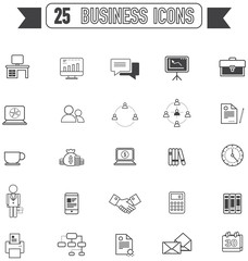 Flat line silhouette icon. For business and office tool equipment sign and symbol icon collection set, create by vector