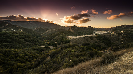 Poster Hill Santa Monica Mountains and Malibu Creek State Park Sunset in California
