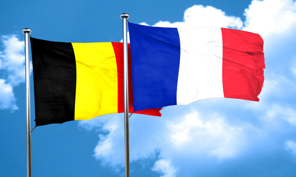 Belgium flag with France flag, 3D rendering