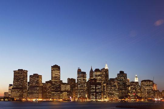 Cityscape at dusk, Manhattan, New York City, NY, USA