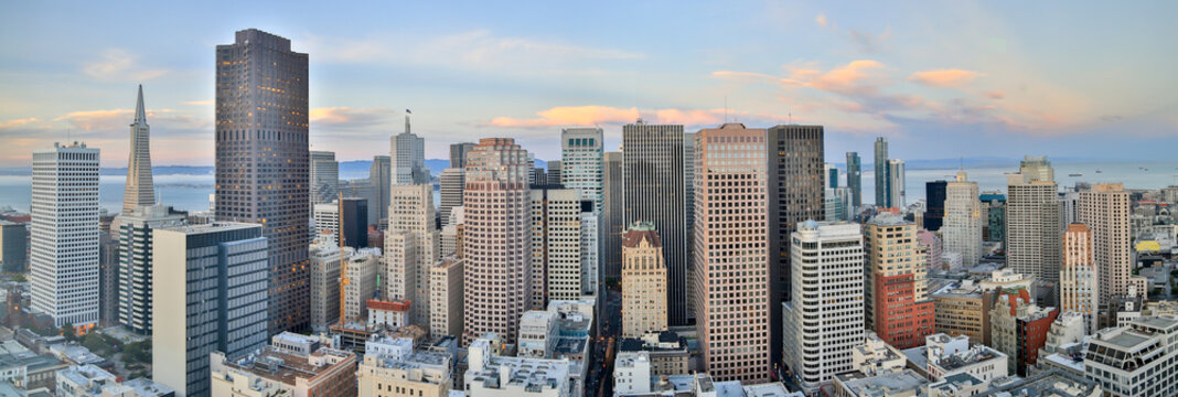 San Francisco Downtown Panoramic View at Sunset. Aerial view of San Francisco Financial District.