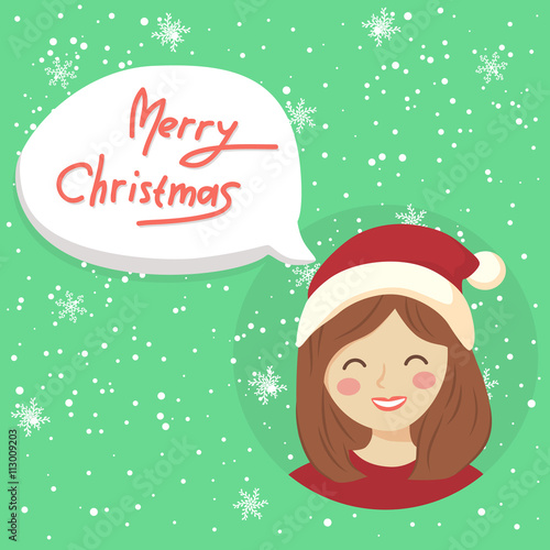 Christmas greeting card with girl saying Merry Christmas in bubble ...