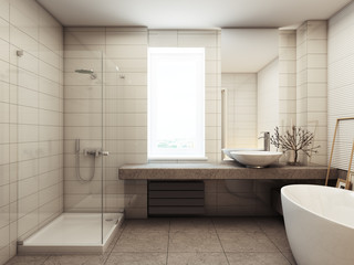 Ванная в жилом доме 3d rendering
