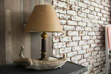 Electric lamp with shade on background
