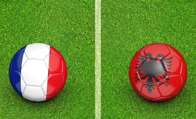 Team balls for France vs Albania football tournament match, 3D rendering