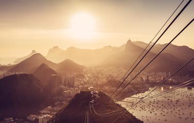 Rio De Janeiro panorama with sun beam. Brazil