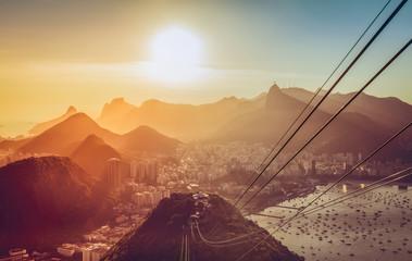 Rio De Janeiro late afternoon panorama with sun beam