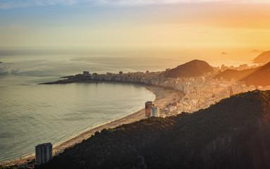 Copacabana Beach with sunset light. Brazil