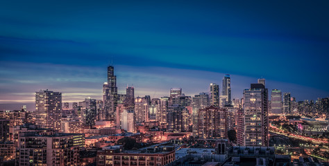 Chicago Skyline panorama at dusk,