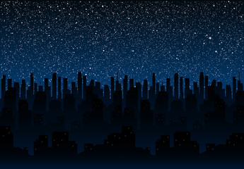 Starry night sky. Silhouette of the city. Eps 10.
