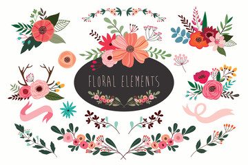 Hand drawn vector floral set with branches and flowers bouquets. Fototapete