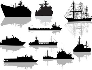 nine different ship silhouettes with reflections