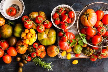 Tomatoes varieties colorful dark background. Top view.