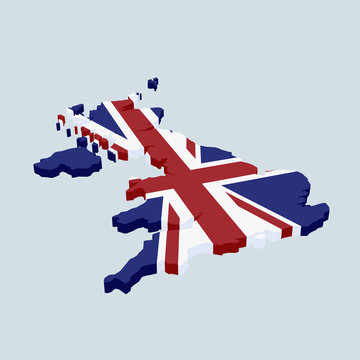 British flag in the shape of Great Britain
