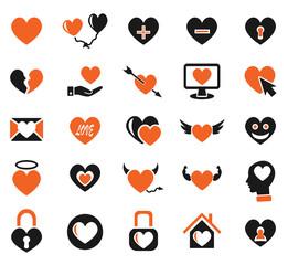heart love icon set