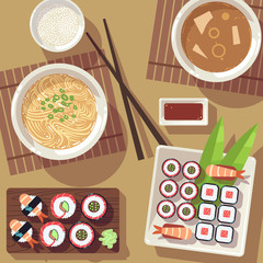 Dining table with japanese food in top view. Restaurant asian vector concept