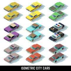 Isometric city cars vector icons in front and rear views. Isometric collection transport car. Police and taxi model car illustration