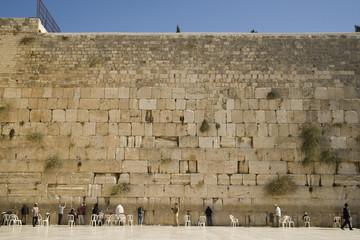 A large group of men praying at the Wailing Wall