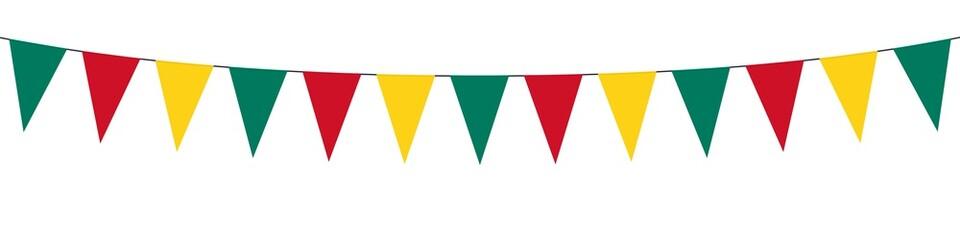 Banner. Guirlande. Vert, jaune, rouge.