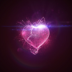 3D illuminated neon heart