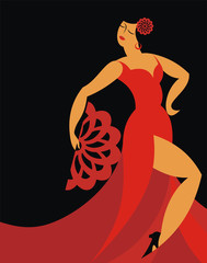 the dancer of a flamenco in a red dress on a black background