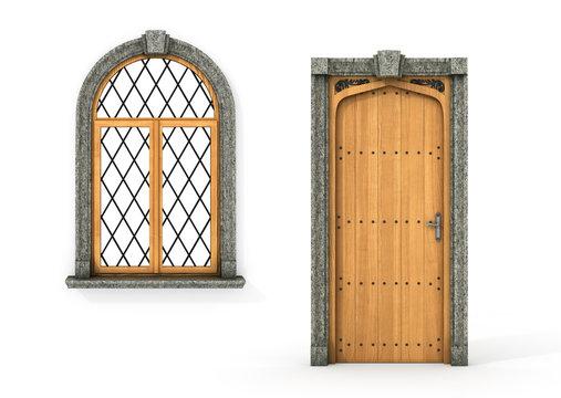 Ancient wooden door and window. Set of castle door and window is