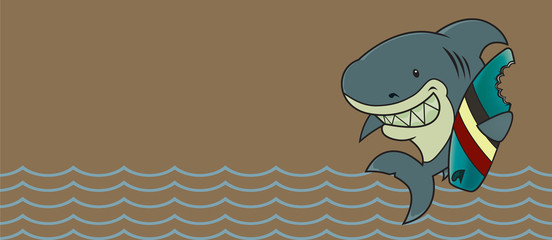 The great white surfer.Funny looking surfer shark cartoon character.Horizontal banner design