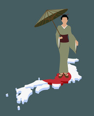 stereotypical japanese woman standing on japanese flag in the shape of japan