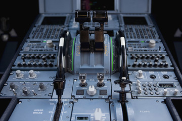 The control panel of a commercial airplane